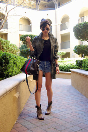 Isabella Oliver jacket - Gucci bag - free people shorts - Zara top