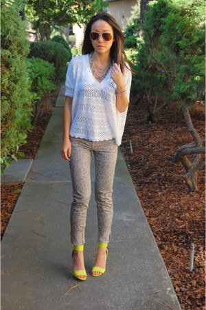 H&M heels - Splendid sweater - Stella McCartney sunglasses - J Brand pants
