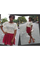 Forever 21 skirt - Jessica Simpson heels - Necessary Objects top