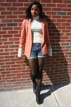 H&M blazer - Levis shorts - vintage top - American Apparel stockings - Nyla clog