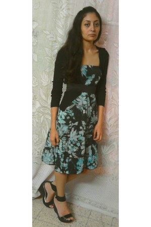 sky blue floral print dress - black cardigan - black sandals - black belt