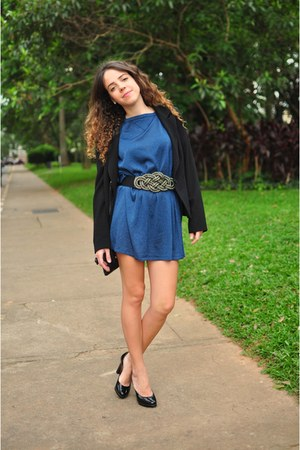 blue Bel Air dress - black Zion blazer - black Zion heels - black Zion belt