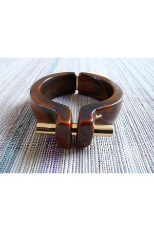 brown Trifari accessories - gold - black