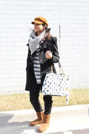 black wool Bebe coat - brown hat - heather gray handmade scarf - faux fur Louis