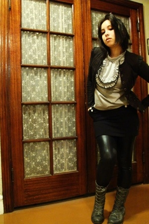 Betsey Johnson jacket - California Select top - H&M skirt - Express leggings - F