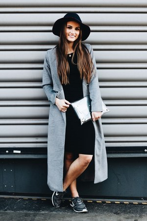 silver long trench jacket - dark gray Sheinside dress