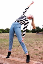 black bold striped vintage blouse - navy American Apparel jeans