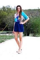 blue vintage blouse - navy vintage skirt - camel ferragamo sandals