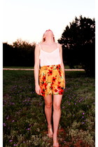 carrot orange hawaiian whhttt shorts - white American Apparel blouse