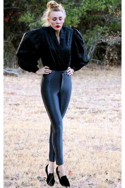 vintage blouse - American Apparel pants - vintage loafers