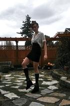 white shirt - black skirt - black stockings - black shoes - black