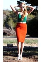 carrot orange knit Anthropologie skirt - bronze vintage sunglasses