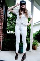 vintage hat - vintage blouse - vintage shirt - Zara pants - vintage shoes - Chev