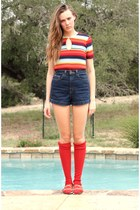 navy American Apparel shorts - red  socks - red whhttt vintage blouse - burnt or