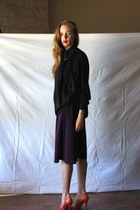 black Kenzo blouse - deep purple American Apparel skirt