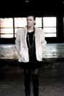 Beige-urbanxchange-jacket-black-goodwill-dress-black-diy-shredded-thigh-high