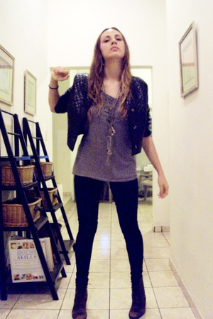 some boutique in TX jacket - American Apparel t-shirt - Sass and Bide leggings -