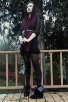 black house of vintage dress - black Urbanxchange belt - black  tights - Walmart