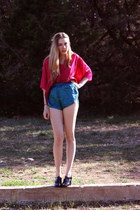 teal swim trunks vintage shorts - hot pink vintage blouse
