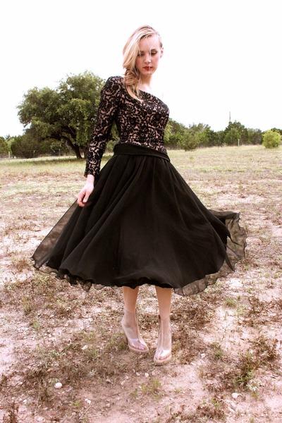 clear vinyl JC boots - vintage dress