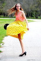 black vintage hat - black vintage Ferragamo heels - yellow vintage skirt