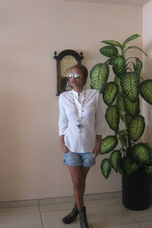boots - shorts - shirt - sunglasses - necklace