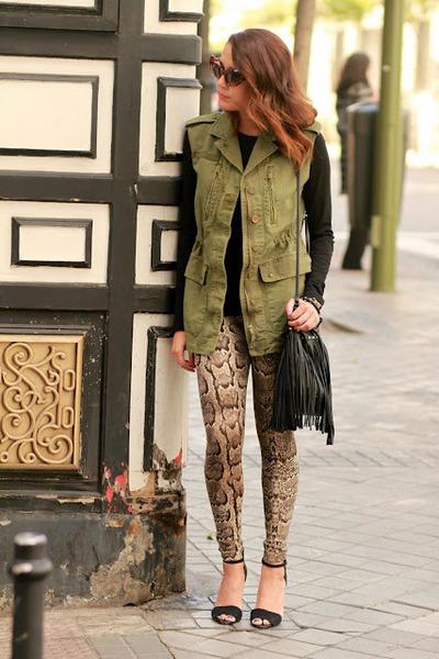 zar vest - H&M leggings - Primark t-shirt - zar sandals