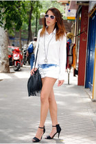 blue Bershka shorts - white H&M shirt - forest green H&M bag