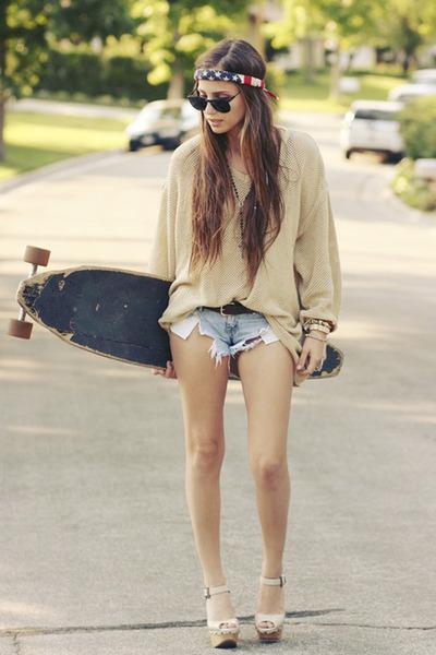 off white sandals - beige sweater - light blue denim shorts shorts