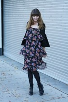 black vintage dress - black vintage boots - black vintage jacket