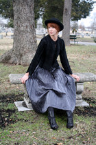 black vintage jacket - silver vintage skirt - black Chinese Laundry heels