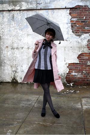 light pink vintage coat - black vintage sweater - gray Target tights - black vin