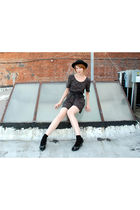 black vintage dress - black vintage hat - black Target socks - black naturalizer