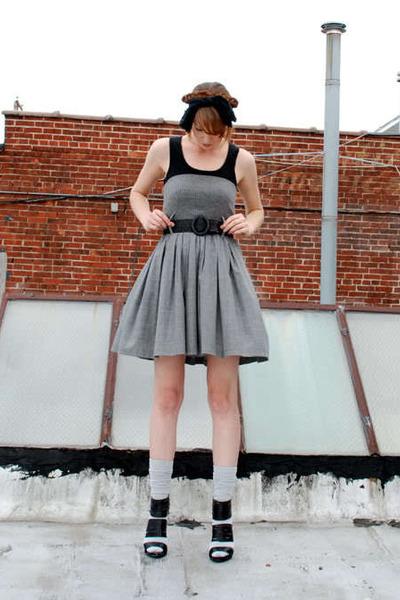 black Gap shirt - gray Jean Paul Gaultier Femme dress - gray Target socks - blac