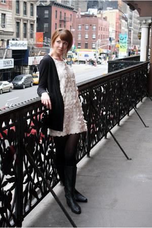 black calvin klein boots - nude H&M dress - black Target sweater - black Urban O