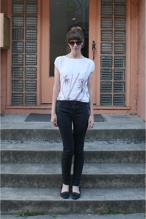 white vintage blouse - black Silence &amp; Noise jeans - black Nine West flats