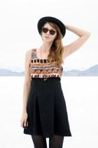 black vintage boots - dark brown vintage dress - black vintage hat