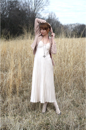 neutral vintage dress - nude vintage blazer
