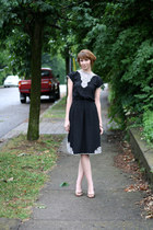 black vintage dress - bronze Nine West heels