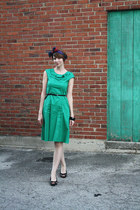 green Shabby Apple dress - magenta vintage scarf - black H&M belt - black natura