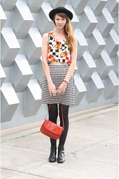 black vintage boots - black vintage hat - black vintage skirt