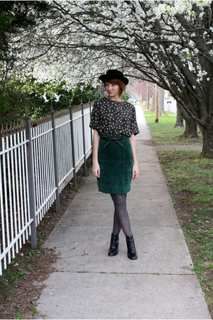 black vintage boots - black vintage hat - gray Target tights - black vintage blo