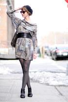 gray vintage dress - black Pangaea hat - gray Urban Outfitters bag - black thrif