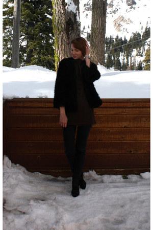 black slience & noise jeans - black vintage jacket - dark brown vintage top