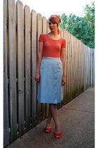 red vintage shirt - blue vintage skirt - orange Vintage Vera Maxwell scarf - red