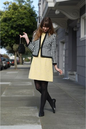 black jacket - light yellow vintage dress - black tights - black vintage bag