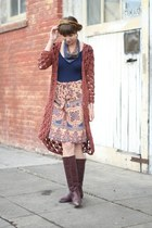 dark brown vintage boots - burnt orange vintage sweater