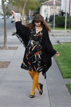 black vintage dress - mustard H&M tights - black second hand cape
