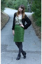 green vintage skirt - black vintage jacket