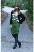 green vintage skirt - black vintage jacket